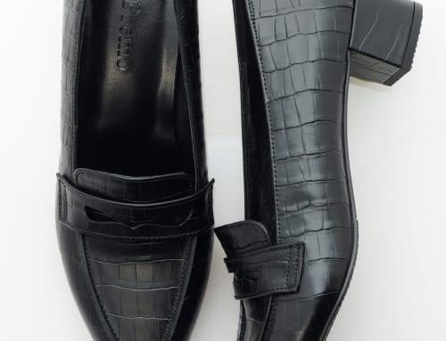 3.5cm Heel 型押し(カーフ)・ブラック(クロコ)