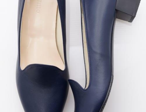 3.5cm Heel ラム・ブルー・スタックヒール・ブラック