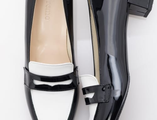 3.5cm Heel エナメル・ブラック・カーフ・ホワイト