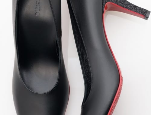 7.5cm Heel カーフスキン・ブラック・グリッター・ブラック(細目)