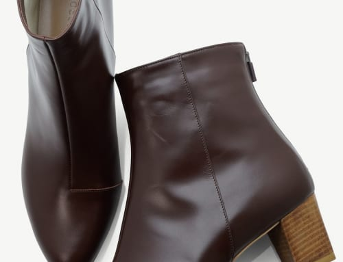 5.5cm Heel ブーツ カーフスキン・ダークブラウン・スタックヒール・ブラウン