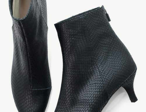 5.5cm Heel ブーツ 型押し(カーフ)・ブラック(スネーク)