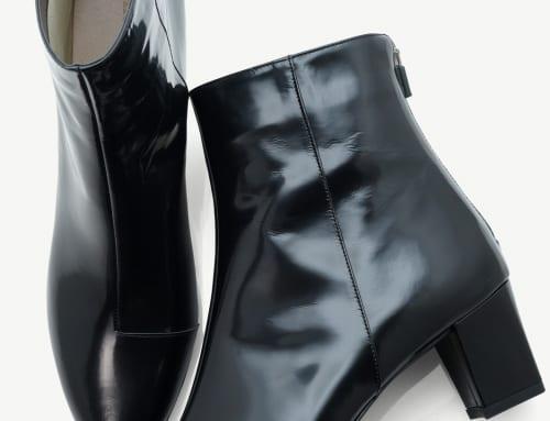 5.5cm Heel ブーツ カーフスキン・ブラック(防水加工)