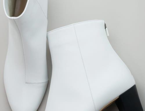 5.5cm Heel ブーツ カーフスキン・ホワイト・カーフスキン・ブラック